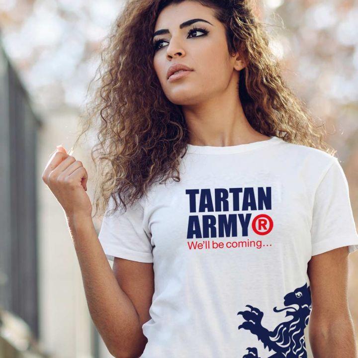 Tartan Army Classic Ladies White T-Shirt